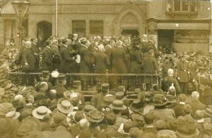 12 May 1910: Proclamation of the Accession of George V, Stone read from the portable bandstand in Granville Square. The portable band stand seen here was the first of its kind and was manufactured by Haynes and Sons, wheelwrights, of Station Road, Stone, and was purchased by Stone Urban District Council. See Copyright footnote at  [6]