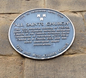 All Saints Church Newcastle upon Tyne - Blue Plaque