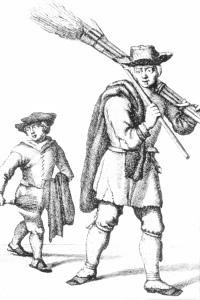 An eighteenth century drawing of some chimney sweeps. They were seen as one of the earliest cases of occupational cancer, as observed in 1770 by Percival Pott. Source: National Cancer Institute from Wikimedia Commons: https://visualsonline.cancer.gov/details.cfm?imageid=2106