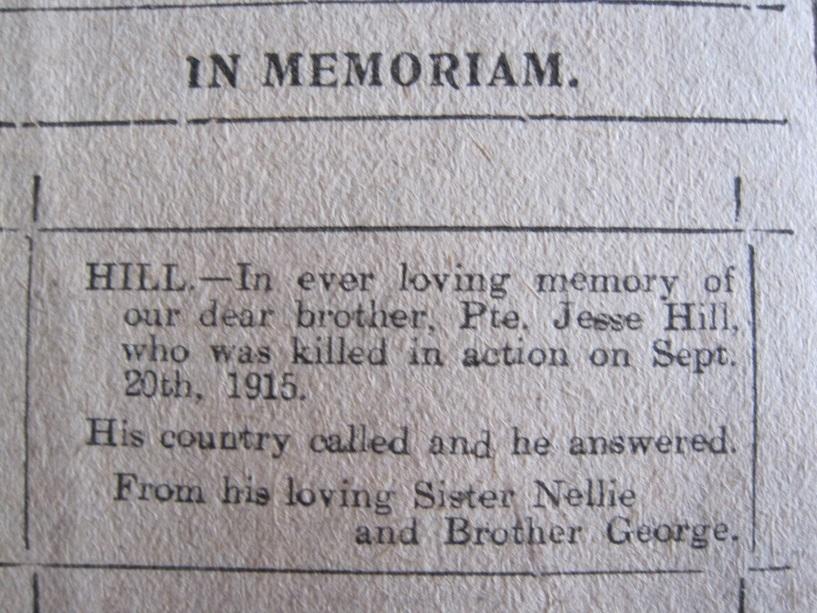 Pte Jesse Hill, 6th (Service) Battalion, The King's Own (Yorkshire Light Infantry): 13 November 1895 to 19 September 1915. Never Forgotten (3/5)