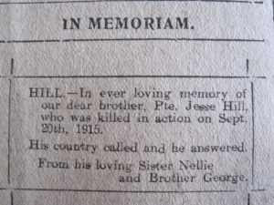 In Memoriam Notice from