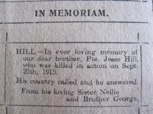 In Memoriam Notice from