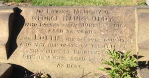 Lottie Oddy's Batley cemetery headstone -