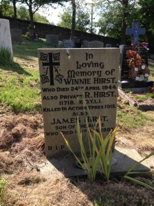 Robert Hirst's relatively new headstone