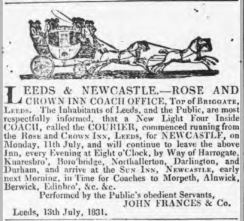 July 1831 advert for the Courier Coach from the Rose and Crown Inn, Briggate