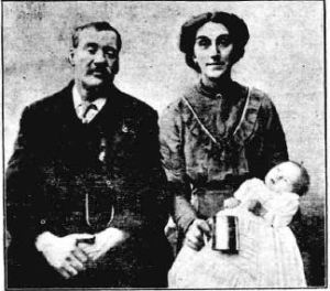 Baby George Shrapnel Griffin with his proud parents Mr and Mrs Edward Griffin