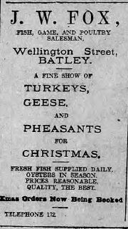 Festive Adverts and Shopping in Batley: A 1915 Christmas – Part 3: Food for Man and Beast (2/6)
