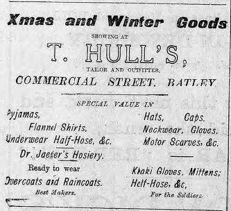 Hull's clothes 18 Dec 1915