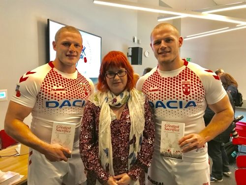 With England Rugby League Stars Tom & George Burgess after they were presented with copies of the book at The Imperial War Museum (North)